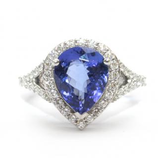 Bespoke 0.63ct Diamond & 3.04ct Tanzanite 14k White Gold Ring