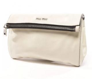 Miu Miu White Soft Leather Foldover Clutch