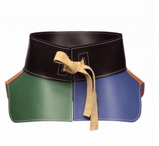Loewe current season multi colour leather peplum belt