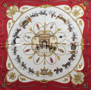 Hermes Red Royal Mews Silk Scarf 90 - As Worn By The Queen