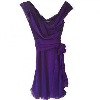 Dolce & Gabbana Purple Silk Ruffled Dress