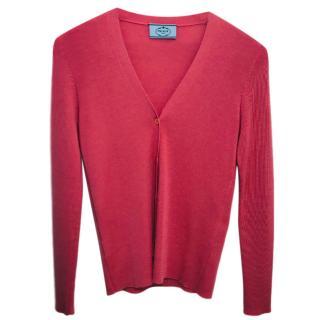 Prada pink cashmere cardigan