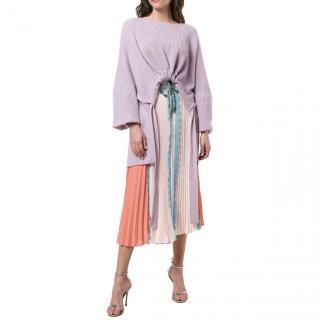 Elisabetta Franchi colour block pleated skirt with scallop trim