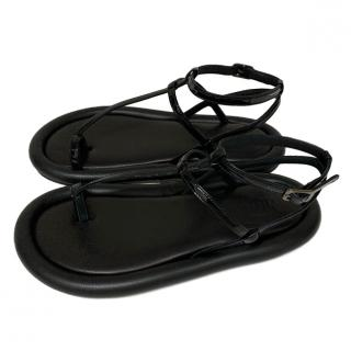 MM6 Black Leather Flat Sandals