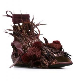 No.21 glitter bordeaux pom pom & tassel sandals