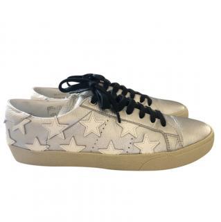 Saint Laurent Metallic Star Print Court Sneakers