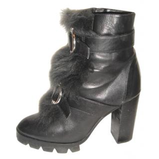 Uterque black fur trim ankle boots