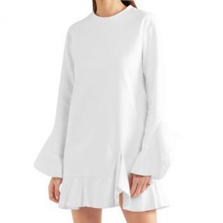 Goen J white ruffled mini dress