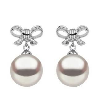 Yoko London Pearl & Ribbon Pendant Earrings