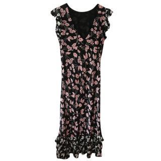 Rixo Black & Pink Floral Print Midi Dress