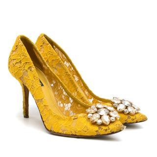 Dolce & Gabbana Bellucci Taormina Yellow Lace Pumps - Current Season