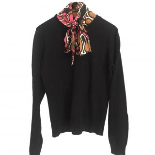 Milly Cashmere Black Sweater W/ detachable silk printed scarf