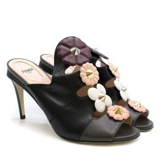 Fendi Studded Floral Applique Leather Mules
