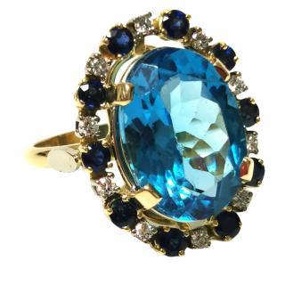 Bespoke Swiss Topaz, Diamond & Sapphire 18ct Gold Cocktail Ring