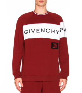 Givenchy Men's Red Intarsia Logo Sweater - New Season