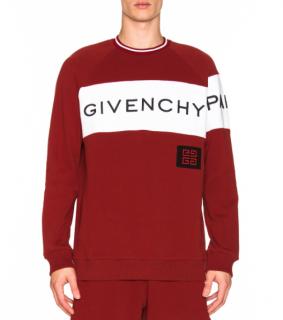 Givenchy Men's Red Intarsia Logo Sweater - New Season