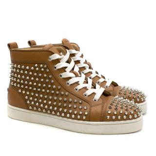 Christian Louboutin Men's Louis Spikes Camel Trainers