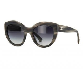 Chanel Matte Grey Havana Cat Eye Sunglasses