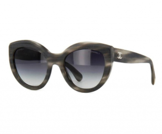 Chanel Matte Grey Havana Cat Eye Sunglasses