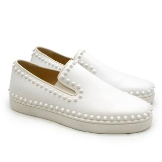 Christian Louboutin White Cador studded leather slip-on sneakers