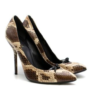 Gucci Snakeskin Bow Detail Pumps