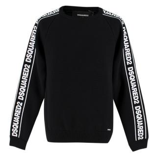 DSquared2 Black Tape Logo Sleeve Knitted Crew Neck Jumper