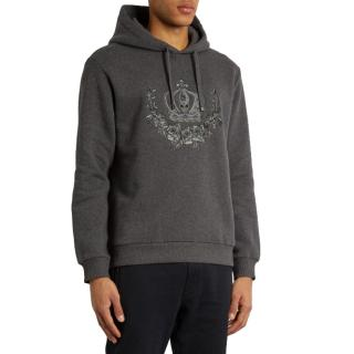 Dolce & Gabbana Men's Grey Crown Embroidered Hoodie