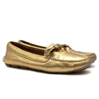 Prada Women's Gold Leather Loafers