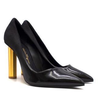 Salvatore Ferragamo Bari Flower Heel Suede & Patent Pump