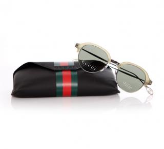 Gucci Green Half-Rim Sunglasses
