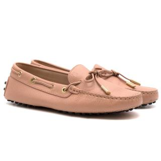Tod's Pink Grained Leather Loafers