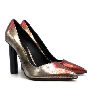 Salvatore Ferragamo Metallic Red & Silver Flower Heel Pumps