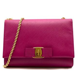 Salvatore Ferragamo Pink Leather Medium Ginny Shoulder Bag