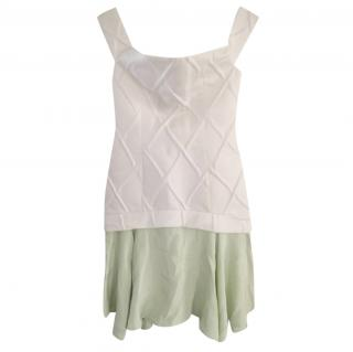 Paper London White Diamond Pleat & Green Silk Dress