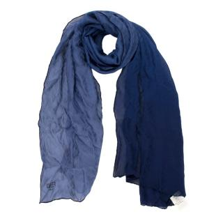 Fendi Blue Ombre Monogram Silk Shawl
