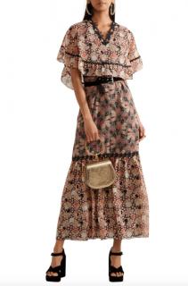 Anna Sui Layered Lace-trimmed Silk-jacquard Maxi Dress