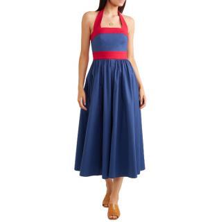Staud Waikiki two-tone poplin halterneck dress