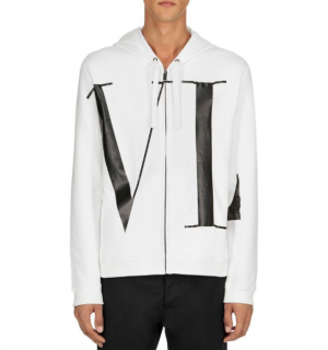 Valentino White Logo Letter Zipped Cotton Hoodie - New Season