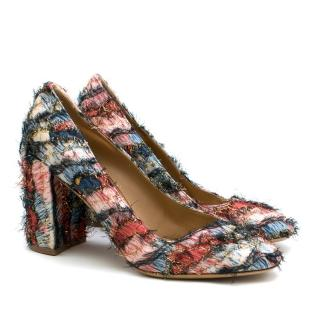 Salvatore Ferragamo Pisa Fringed Jacquard Block Heel Pumps