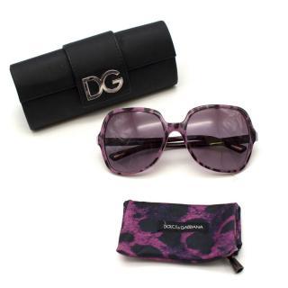 Dolce & Gabbana Women's Purple Leopard Print Oversized Sunglasses
