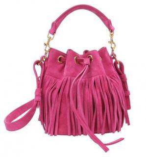 Saint Laurent Pink Emmanuelle Small Fringed Bucket Bag