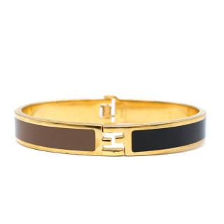 Fendi Colour Block Enamel Gold Tone Zucca Bracelet