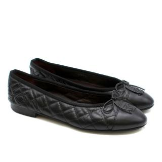 Chanel Black Leather Quilted Cap Toe Ballerina Flats