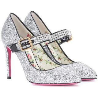 Gucci Crystal-Embellished Glitter Pumps