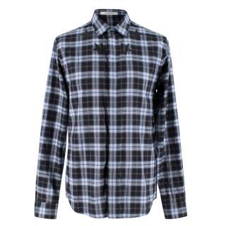 Givenchy Cuban Fit Star Neck Check Cotton Shirt