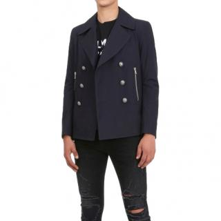 Balmain Men's Navy Double Breasted Peacoat