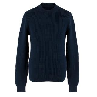 Prada Men's Navy Textured Knit Sweater