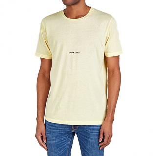 Saint Laurent Cotton Yellow Logo T-shirt - Current
