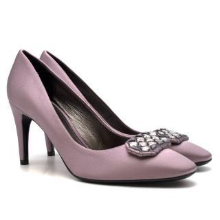 Bottega Veneta Silk Purple Crystal Embellished Pumps