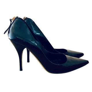 Valentino Garavani Black Patent Zip-Back Pumps